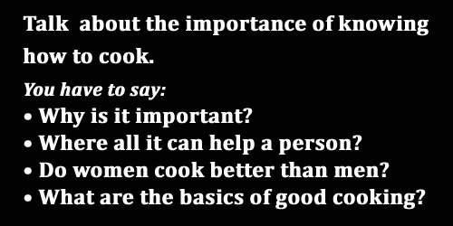 IELTS Speaking: part 2, cue card, the importance of knowing how to cook; with model answer