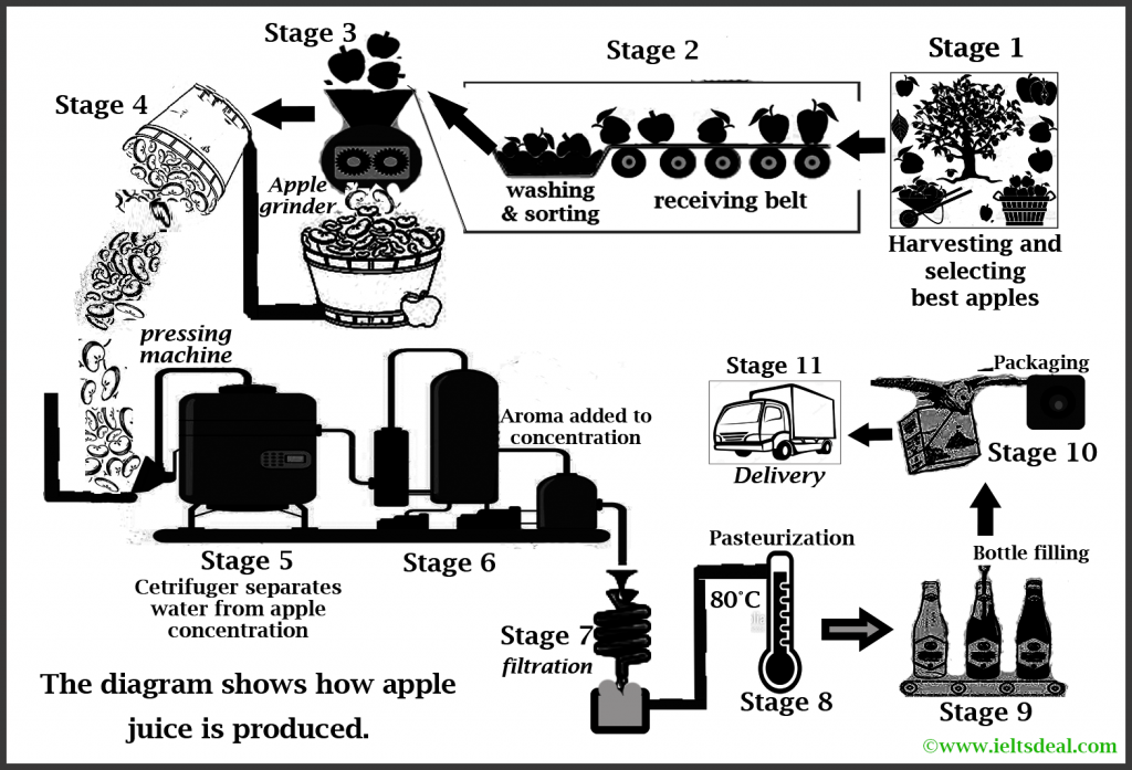 ielts academic writing task 1: process diagram on apple juice production
