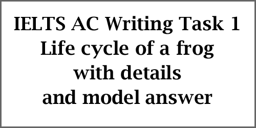 IELTS AC Writing Task 1: diagram, life cycle of a frog, with detailed explanations and best model answer