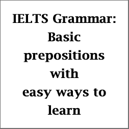 IELTS Grammar: Use of basic prepositions of time, place/position & motion; with rules, pictures and examples