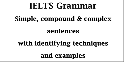 IELTS Grammar: identifying simple, compound & complex sentences; with techniques, explanations & examples