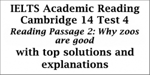 IELTS Academic Reading: Cambridge 14, Test 4: Reading Passage 2; Why zoos are good; with best solutions and detailed explanations