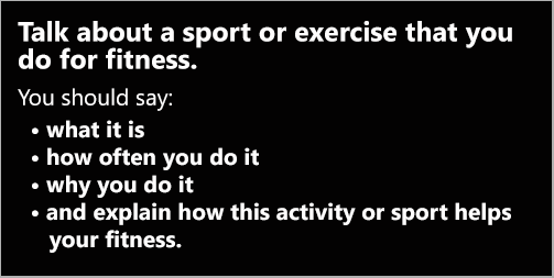 IELTS Speaking Part 2: Topic card; a sport or exercise that you do for fitness; with two model answers