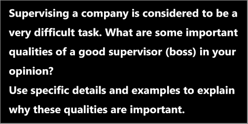 IELTS AC & GT Writing Task 2: opinion essay on qualities of a supervisor/boss; with discussion, notes, model answer and vocabulary practice