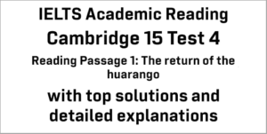 IELTS Academic Reading: Cambridge 15 Test 4 Reading passage 1; The return of the huarango; with top solutions and best explanations