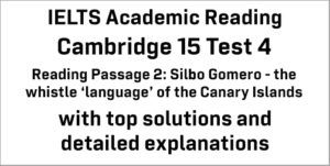 IELTS Academic Reading: Cambridge 15 Test 4 Reading passage 2; Silbo Gomero – the whistle 'language' of the Canary Islands; with best solutions and best explanations