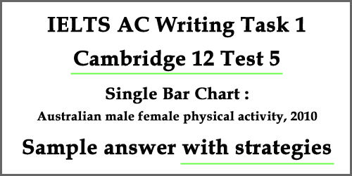 IELTS Academic Writing Task 1: Cambridge 12 Test 5, single bar chart with strategies, bonus tips and sample answer