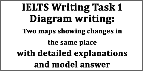 IELTS Writing Task 1: Diagram writing; two maps showing changes, with details, strategies and model answer