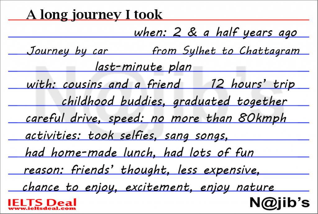 IELTS Speaking Part 2: cue card; a long journey you went on; with notes and model answer